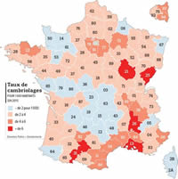 Carte de France des cambriolages 2012